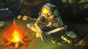 an outer wilds character roasting a marshmallow